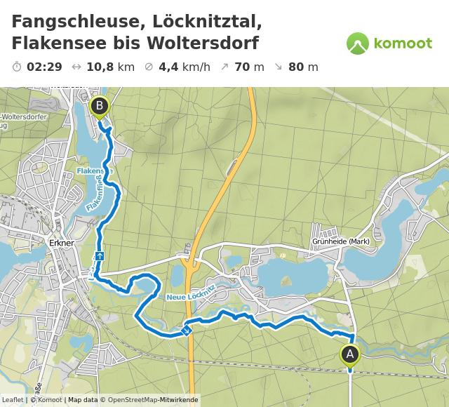 Pfotentour von Fangschleuse, Löcknitztal, Flakensee bis Woltersdorf © Leaflet | © Komoot | Map data © OpenStreetMap-Mitwirkende
