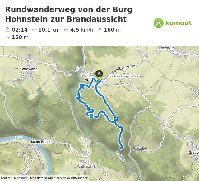 Rundwanderweg von der Burg Hohnstein zur Brandaussicht © Leaflet | © Komoot | Map data © OpenStreetMap-Mitwirkende
