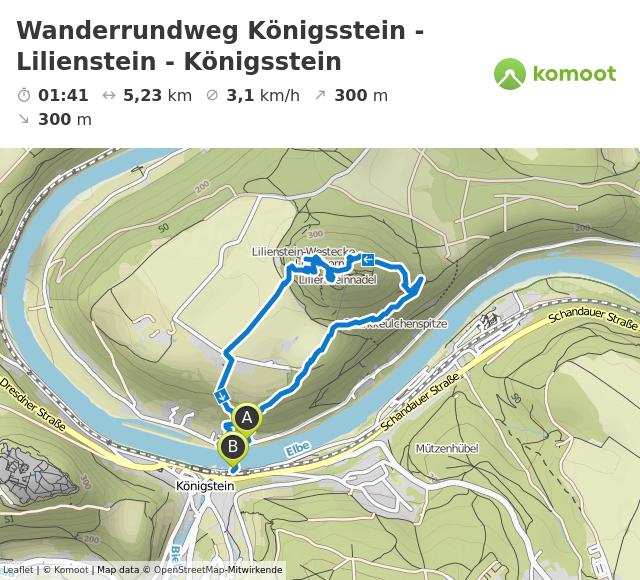 Pfotentour von Königsstein bis Lilienstein und zurück © Leaflet | © Komoot | Map data © OpenStreetMap-Mitwirkende