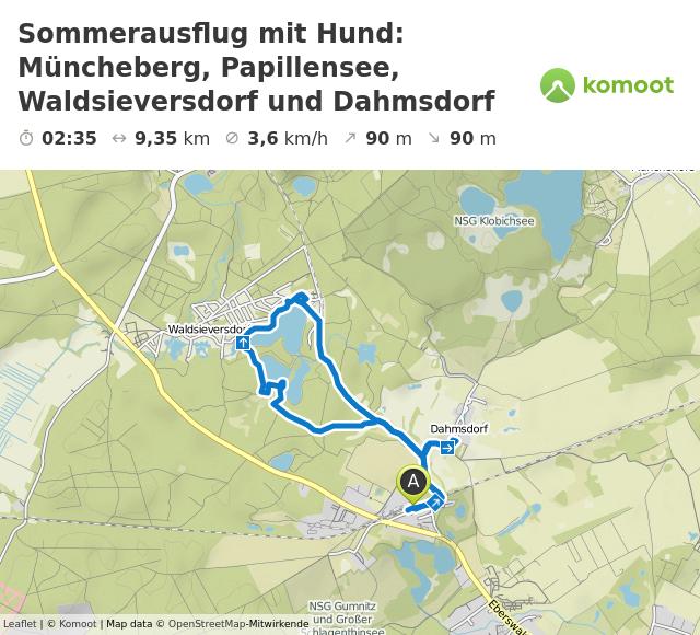 Sommerausflug mit Hund: Müncheberg, Papillensee, Waldsieversdorf und Dahmsdorf © Leaflet | © Komoot | Map data © OpenStreetMap-Mitwirkende